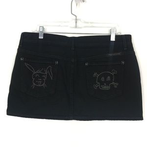COH Black Denim Skirt Embroidered Skull Bunny